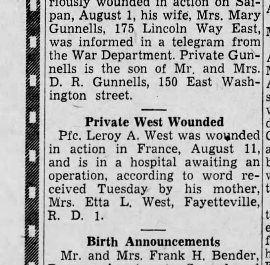 1944 August 24 Leroy West wounded -