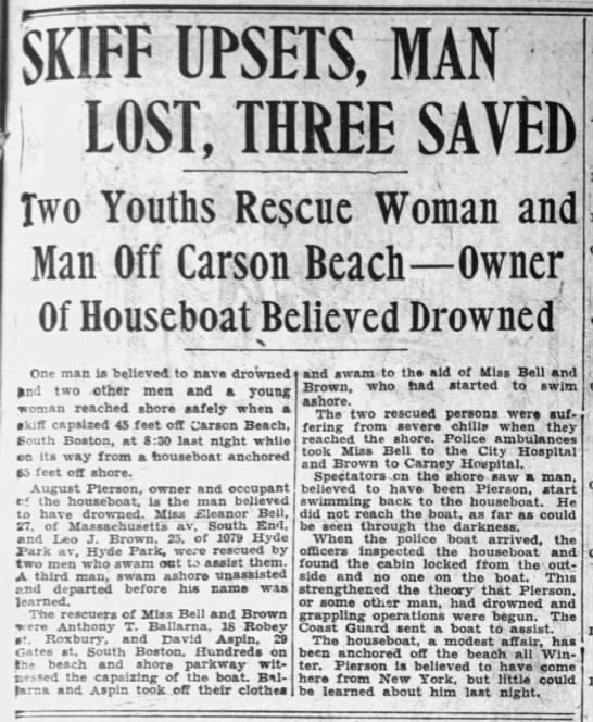 Gus Pierson's drowning.  Eleanor Bell and Leo J Brown saved @ Carson Beach -