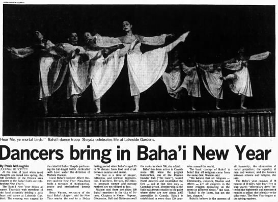 Baha'i observance with locals Albert Ouimet, Betty Watson, dance troupe Shayda -