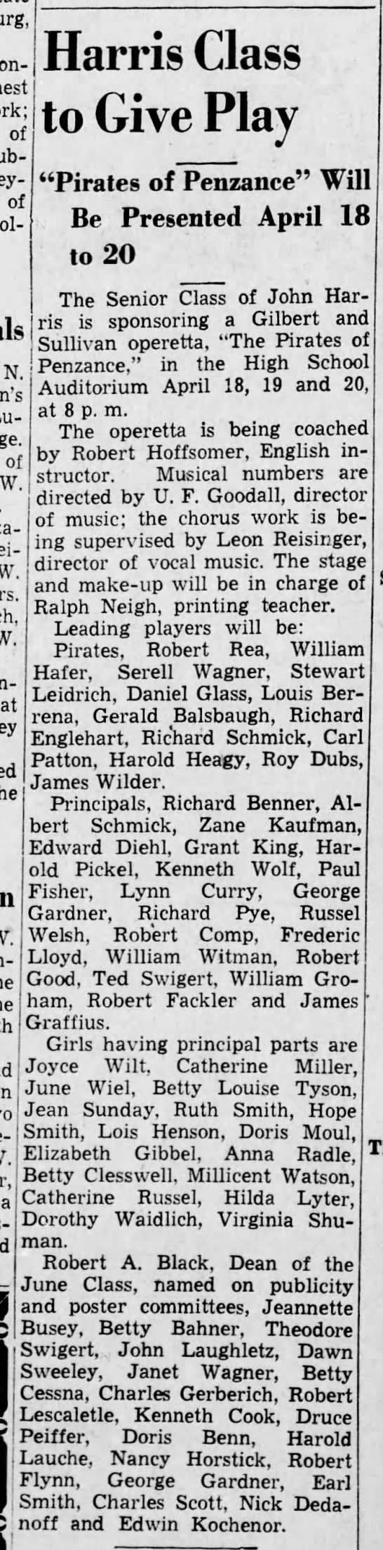1940 Lynn Curry Jr in Pirates of Penzance -