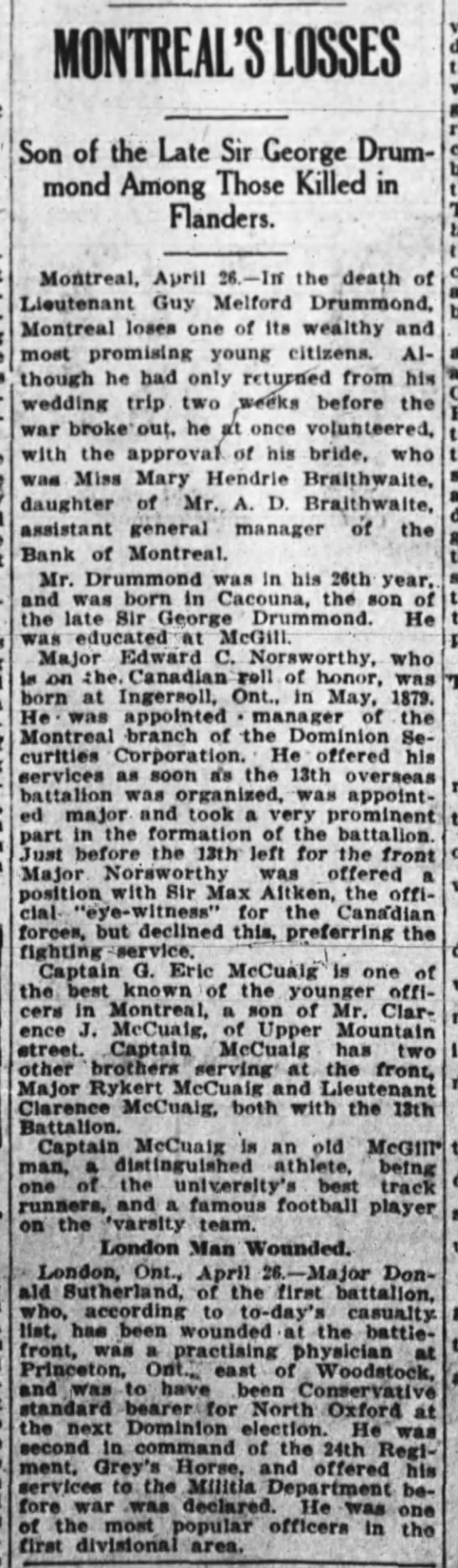 Death of Guy Melford Drummond in WWI (1915) -