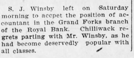 S J starts at Royal Bank -  Grand Forks branch1908 -