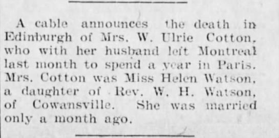 Death of Helen Watson, wife of W. Ulric Cotton, in Edinburgh (1904) -
