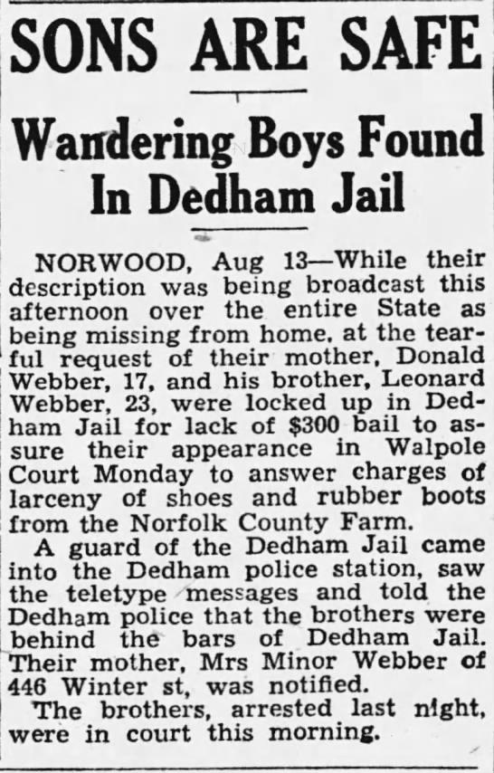 Donald & Leonard Webber, Norwood, Mass missing, found in Dedham Jail -
