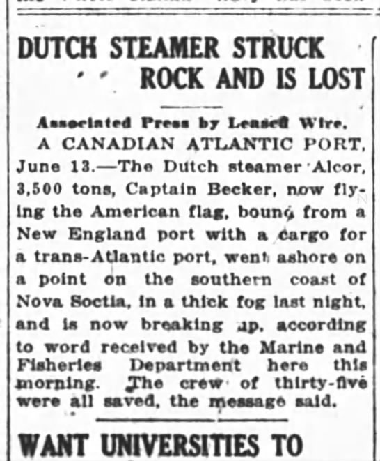 Alcor June 1918 - DUTCH STEAMER STRUCK ' ' ROCK AND IS LOST...