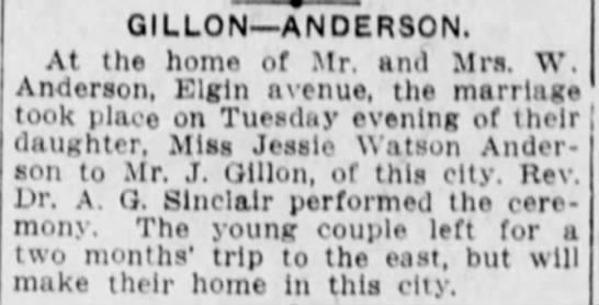 Jessie Watson Anderson marries J. Gillon -