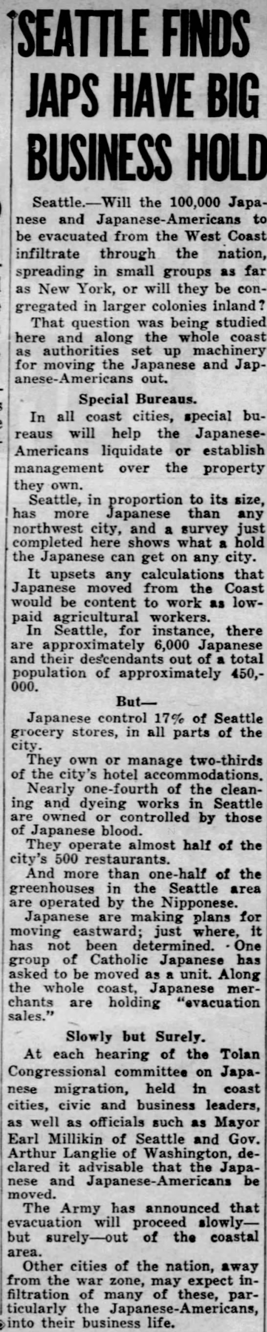 Japanese Americans evacuated from Seattle own large portion of the businesses in the city -