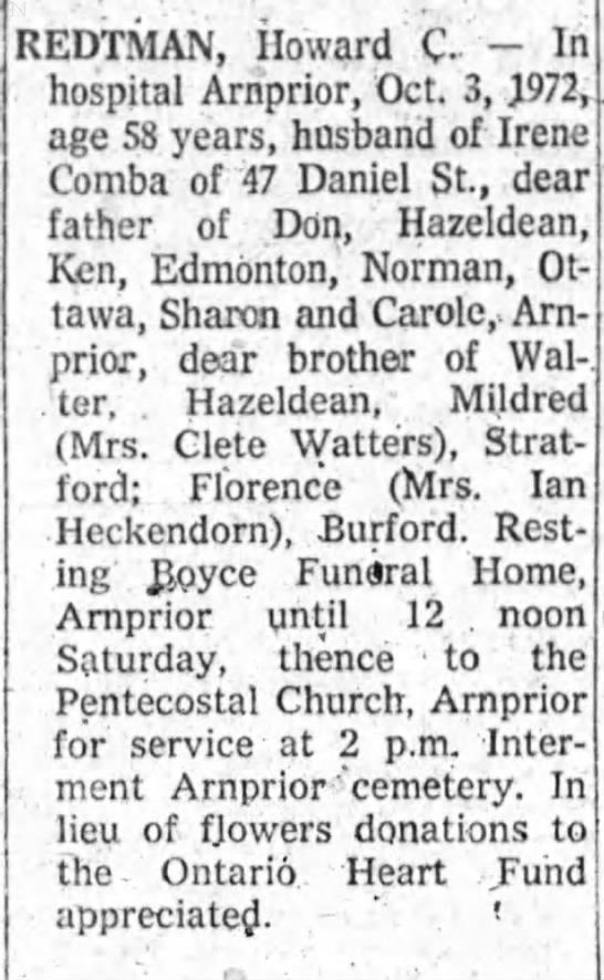 Obituary - Redtman, Howard -