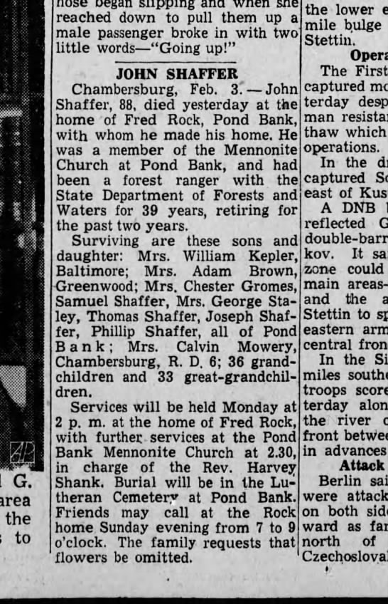 1945 February 3 Harrisburg Telegraph -