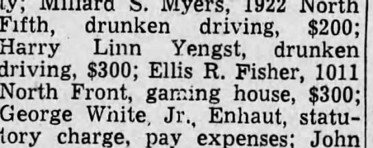 Fine - S. Myers, 1922 North Iifth, drunken driving,...