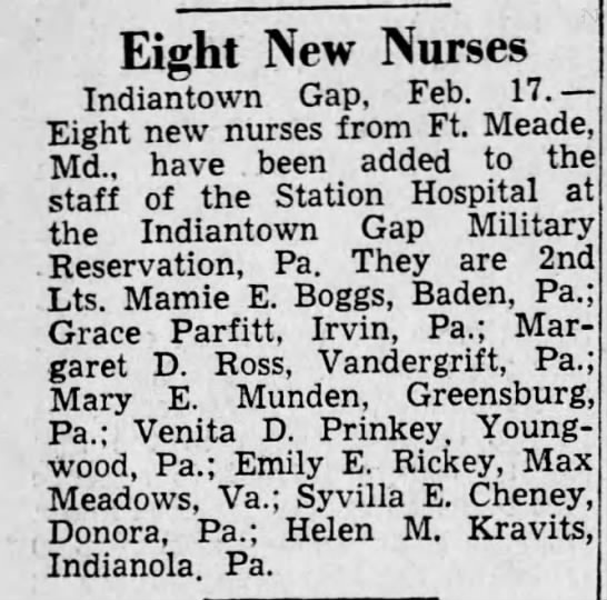 "Grace Parfitt and Venita ""Sis"" Prinkey - Grad Announcement Feb 1945 -"