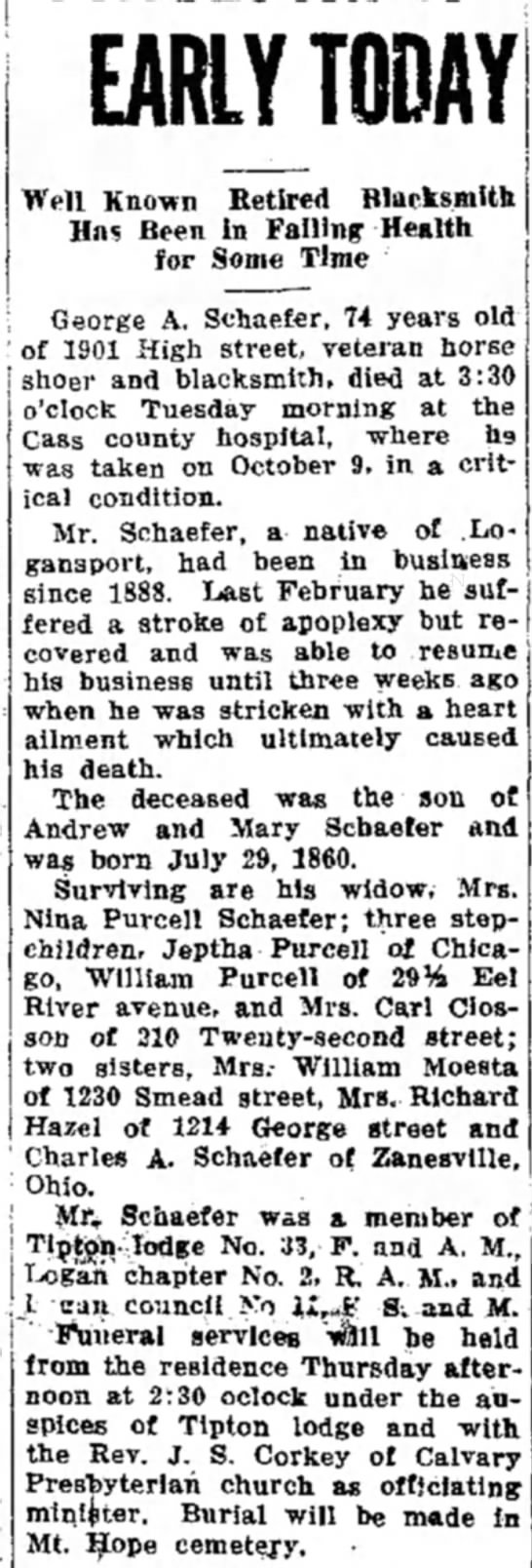 George A Schaefer Obit