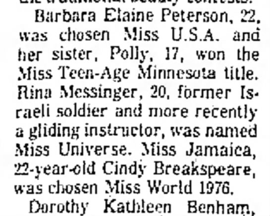 19_December_1976_The_Robesonian_Lumberton, North Carolina - Barbara Elaine Peterson, was chosen Miss U.S.A....