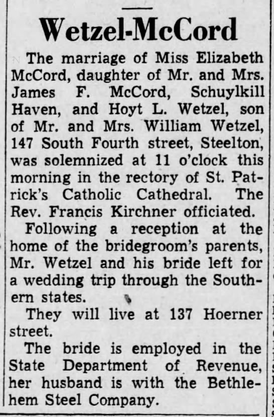 Wetzel-McCord Marriage -