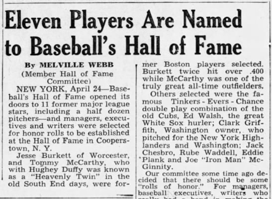 Eleven Players Are Named to Baseball's Hall of Fame -