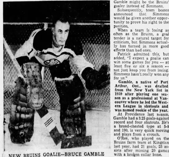 - IT Jr t- l .1 . '; NEW BRUINS GOALIE BRUCE...
