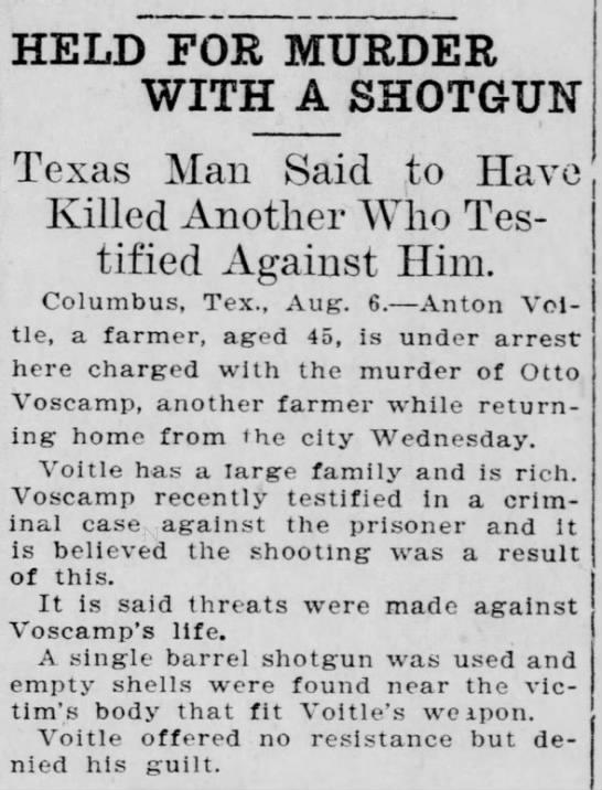 Voitle Voscamp 8-6-1909 El Paso Herald -