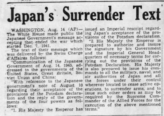 Japan Surrenders to end WWII -