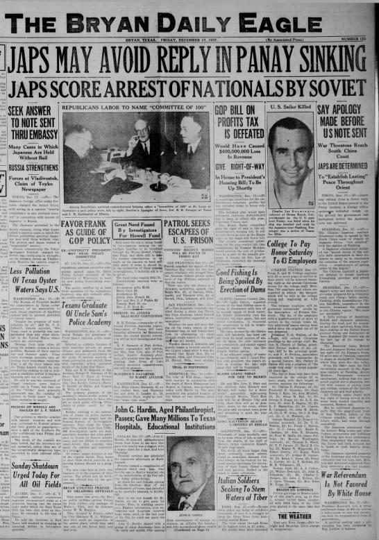 Arthur Menken, Russia Panay Dec 17, 1937 The Bryan Daily Eagle -