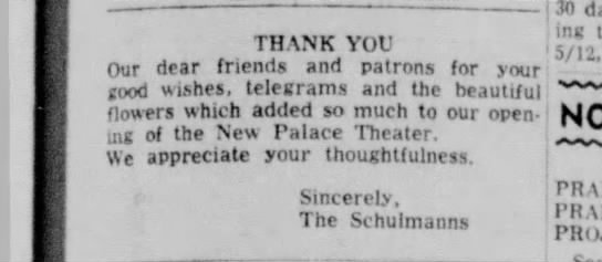 Palace Theater thank you 19 May 1968 - THANK YOU Our dear friends and patrons for your...