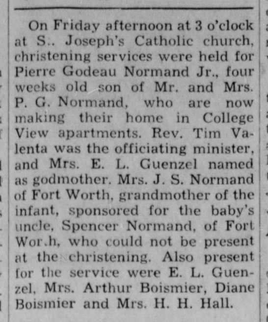 Normand, Pierre G. Jr., christening announcement (The Eagle, Bryan, TX 5 Feb 1949. -