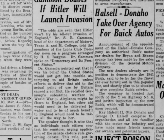 Halsell-Donaho Buick 4 March 1941 -