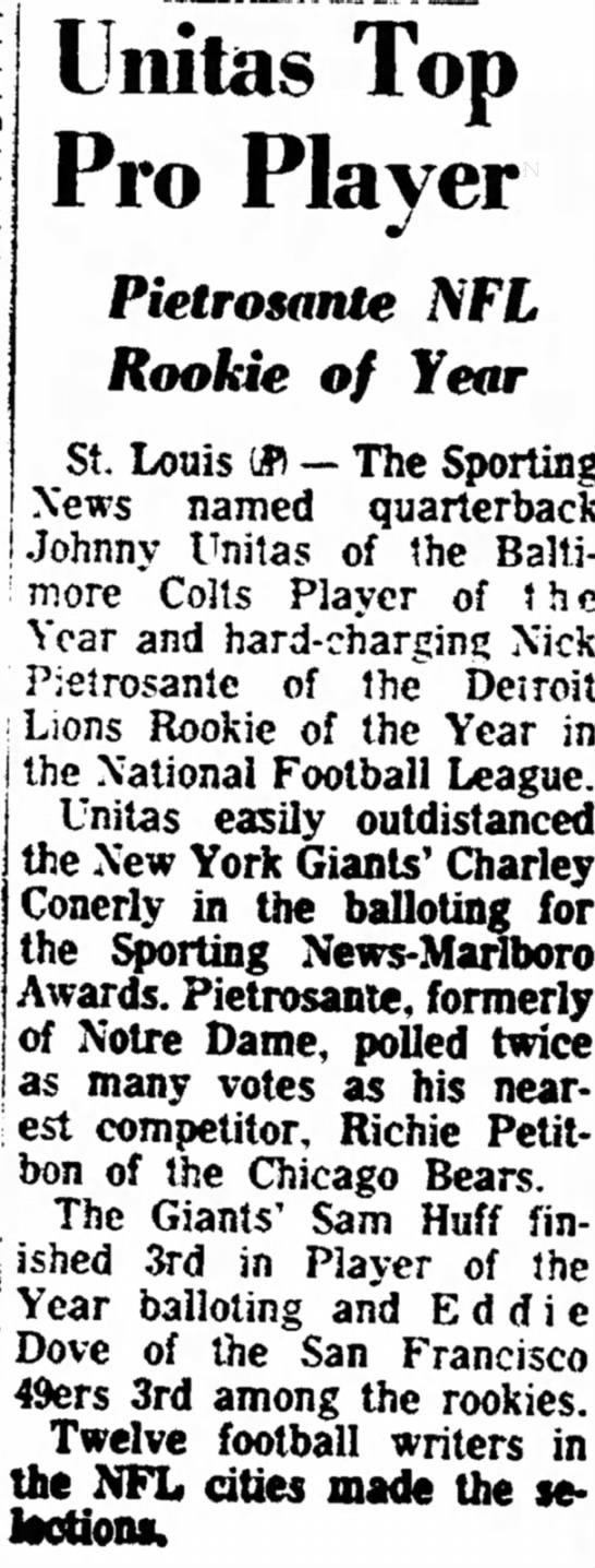 Pietrosante NFL Rookie of Year -