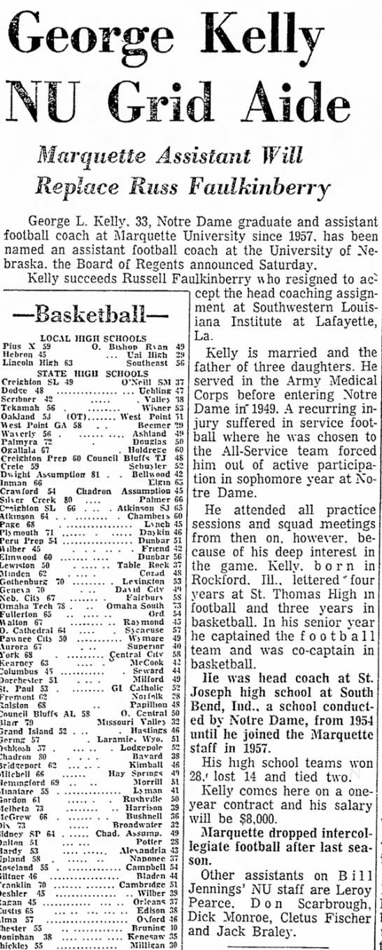 1961 George Kelly joins Nebraska football staff -