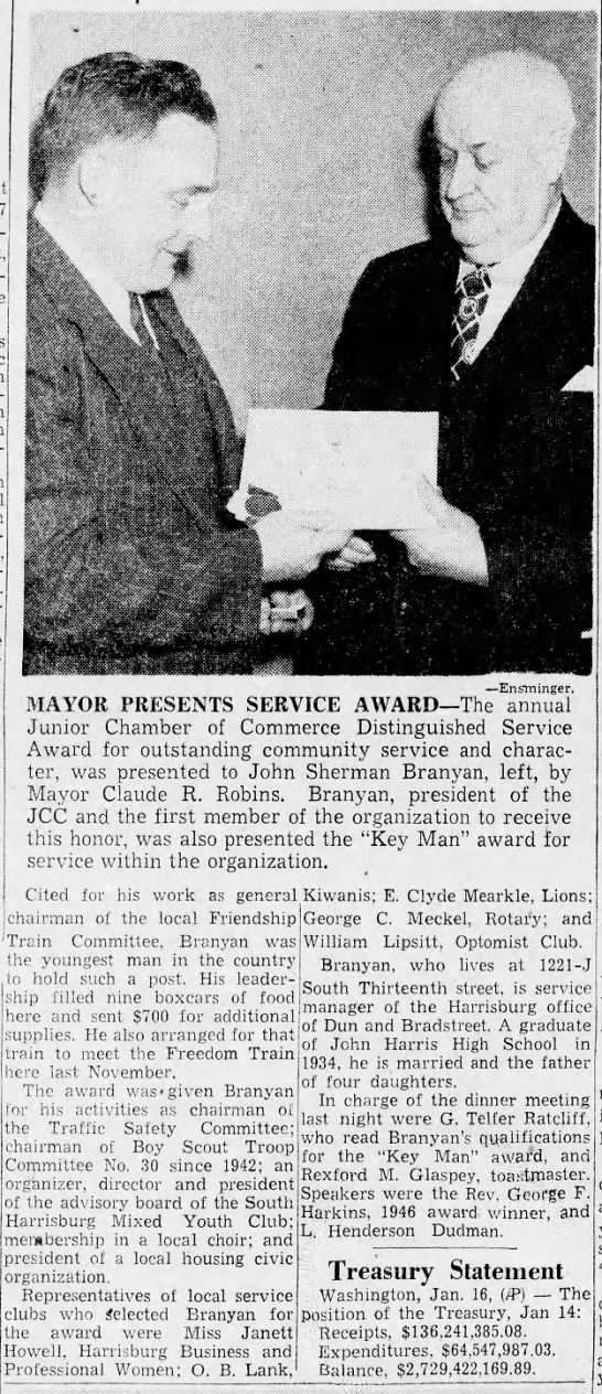 Branyan.John Sherman.1948 JCC service award/attached to tree -
