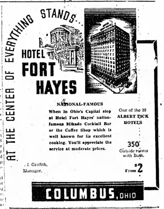 1939 Hotel Fort Hayes Ad -