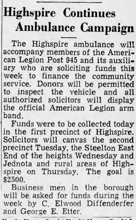 Highspire Ambulance fund raising 1947 -