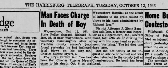 1943 October 12 Harrisburg Telegraph -