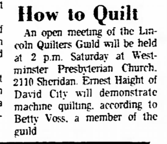 July 8, 1973, LQG How to Quilt with EBH, Lincoln Evening Journal -