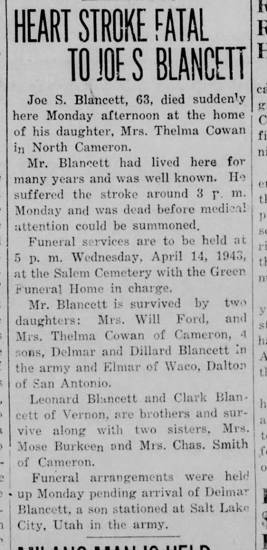 Cameron (TX) Herald, 15 Ap 1943 - HEART STROKE FATAL TO JOE S BLANCETT Joe S....