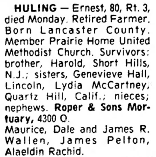 Ernest Huling Death Notice - 59, Ralph; o n e s n e r , HULING-Ernest, 80,...