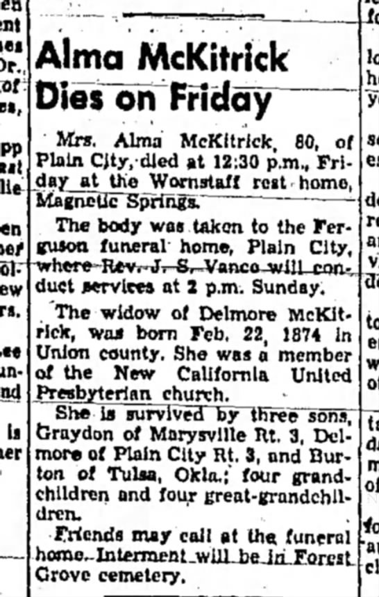 Alma McKitrick - 16 Oct 1954 Marysville Journal-Tribune -