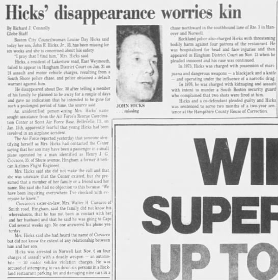 Hicks Disappearance -