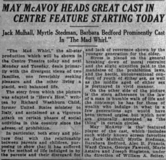Myrtle Stedman movie ad Teh Ottawa Journal Ontario Canada 11 Jul 1925 -