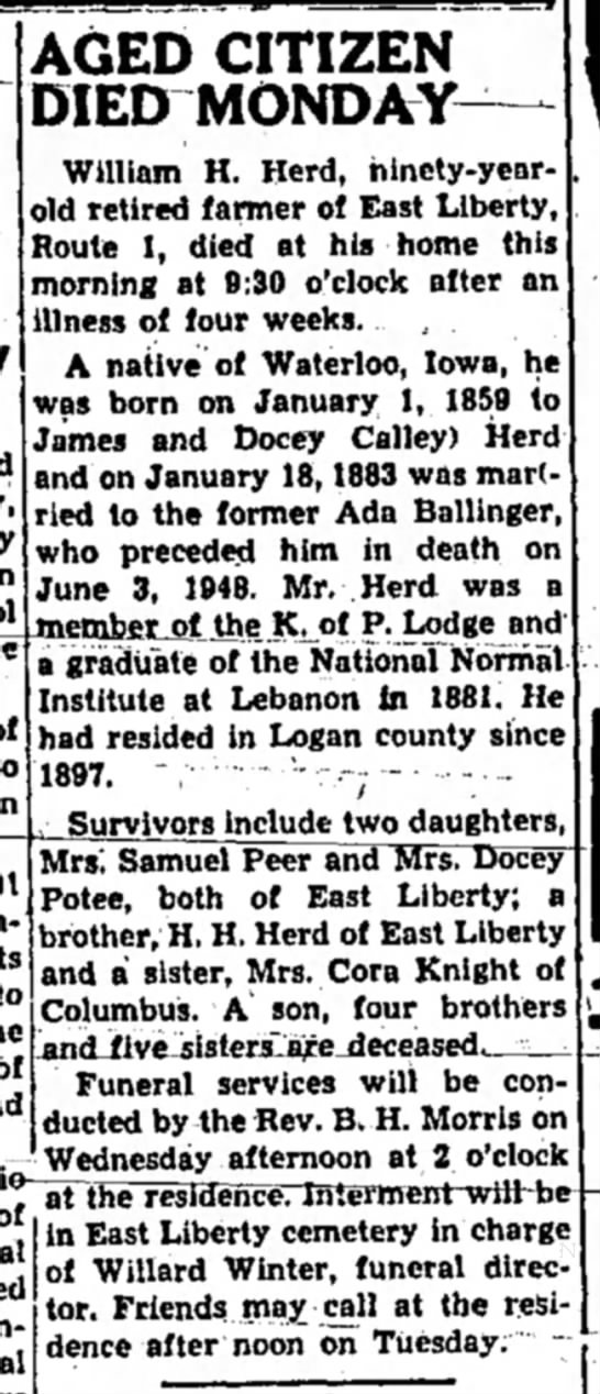 The Marysville Tribune 7 Feb 1949 Wm. Herd Obit -