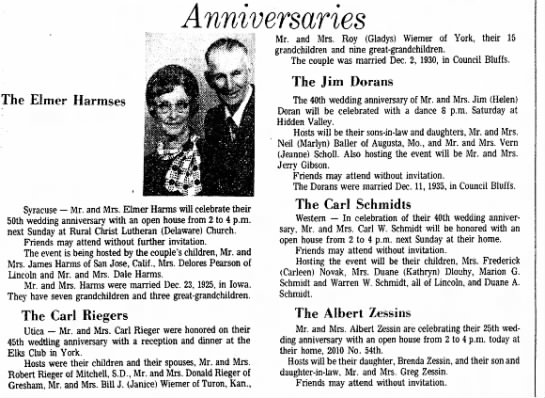 Carl Riegers 45th Wedding anniversary article -