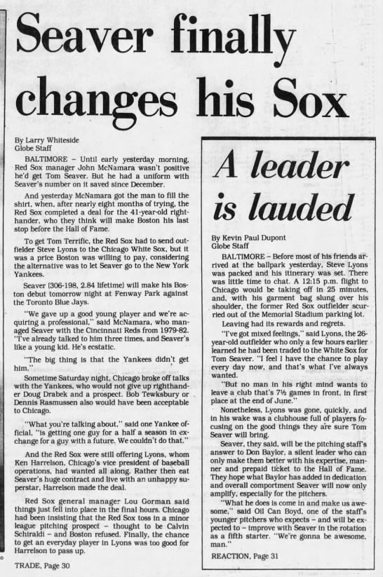 Seaver finally changes his Sox -