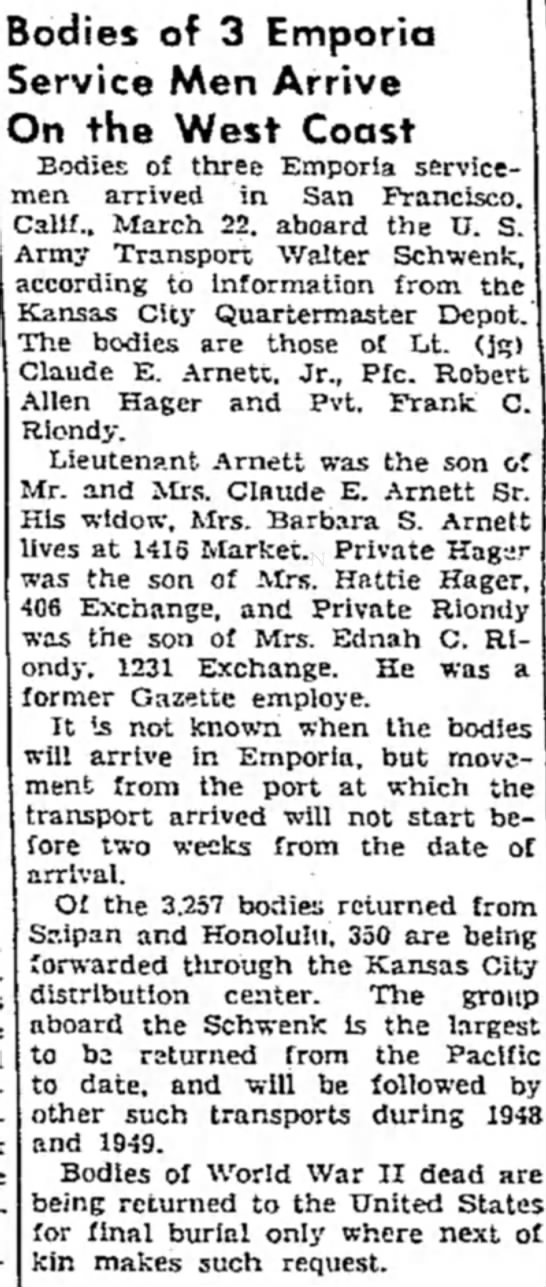 Frank C. Riondy - Bodies of 3 Emporia Service Men Arrive On the...
