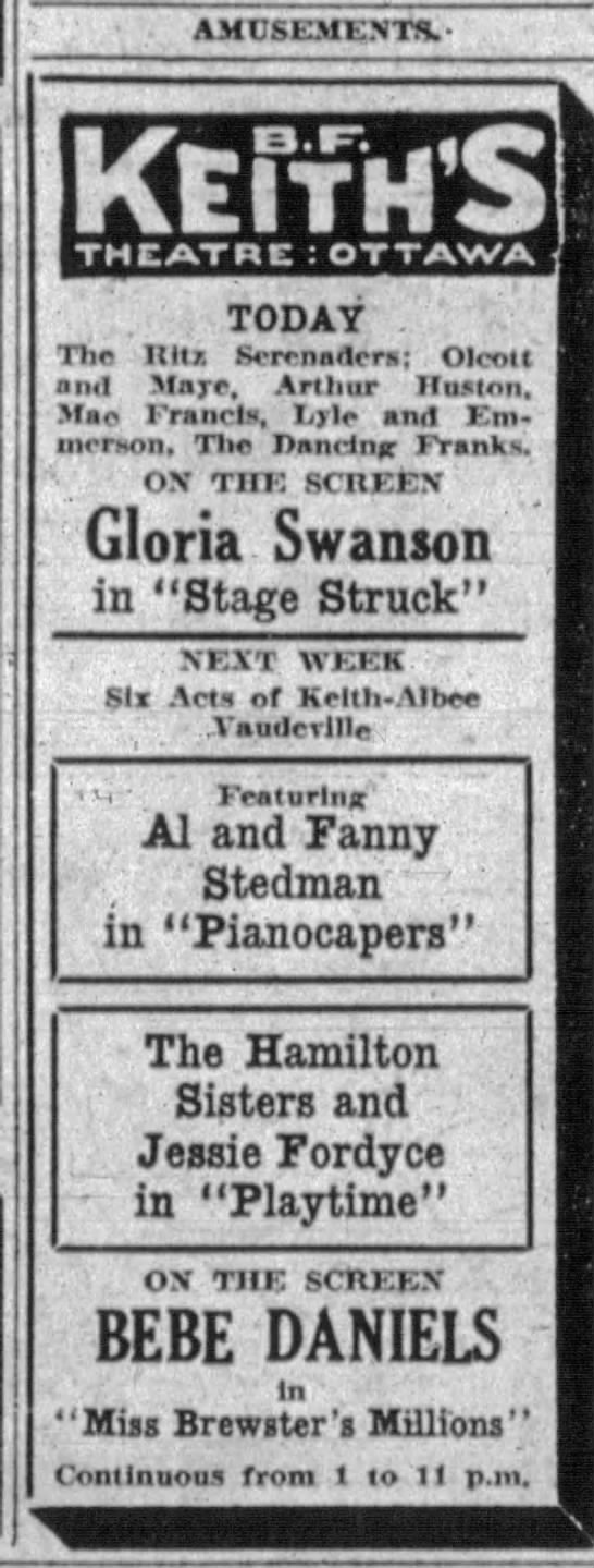 'Playtime' at BF Keiths Ottawa, Canada. The Ottawa Journal April 23, 1926. -