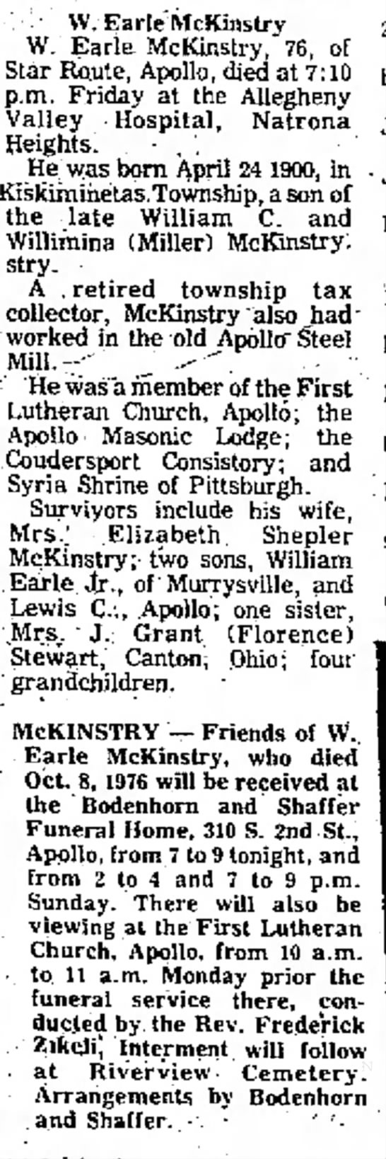 w earle mckinstry obituary -