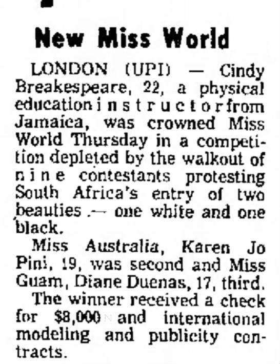 19_November_1976_Simpsons_Leaders_Times_Kittanning, Pennsylvania - New Miss World 83, II, Calif. LONDON (UPI) --...