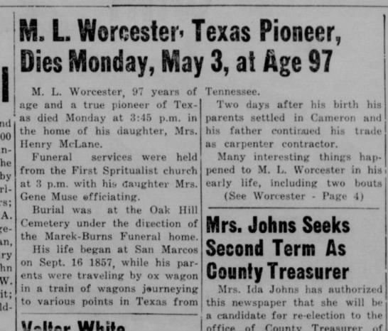 ML Worcester obituary, part 1 of 2 -