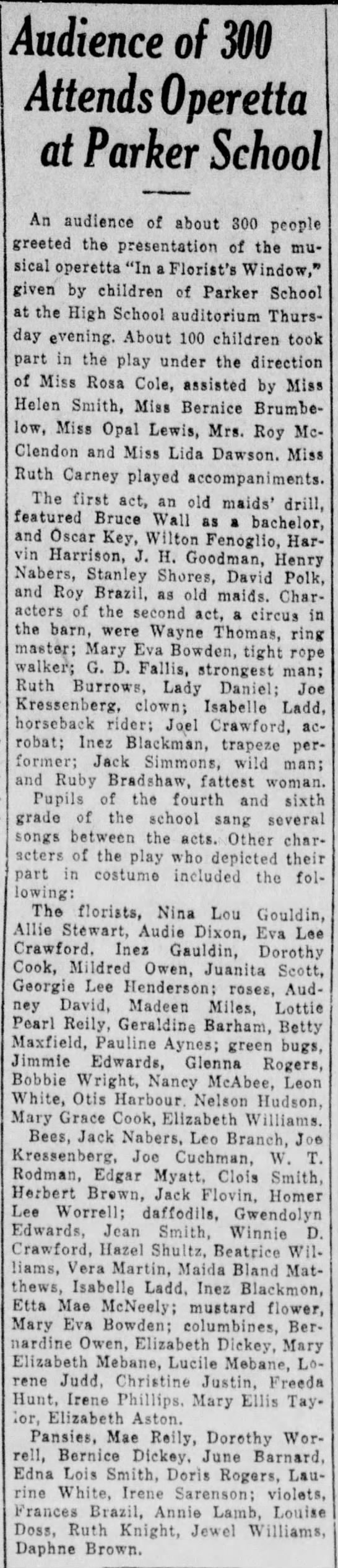 Jack Flovin plays a bee in school opera - Vernon, TX - 5/3/29 - Audience of 300 Attends Operetta at Parker...