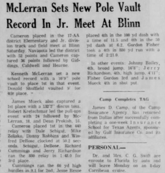 ken Pole vaulting April 67 -