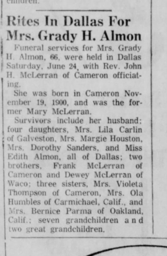 Mary Almon  6/29/67 -