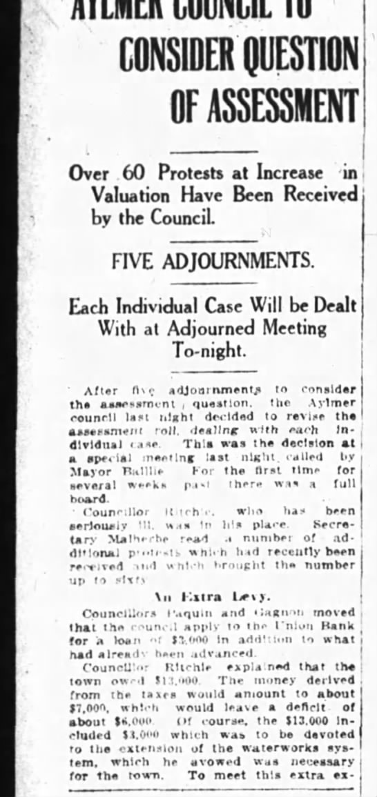 1914.10.20 Aylmer Council #1 - CONSIDER QUESTION OF ASSESSMENT Over 60...
